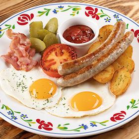 Завтрак Сытный с пикантным соусом с зеленью
